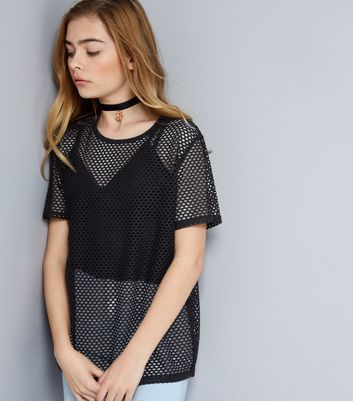 Teens Black Mesh T-Shirt