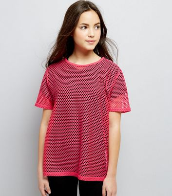 Teens Bright Pink Mesh Oversized T-Shirt