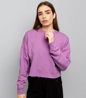 Purple Balloon Sleeve Raw Hem Sweater