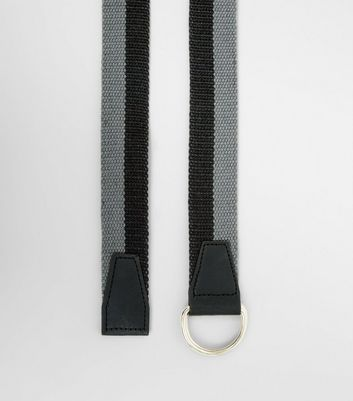 Grey and Black Stripe Textured Belt