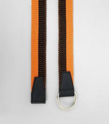 Coral and Black Stripe Textured Belt