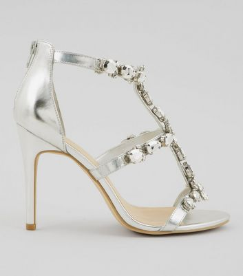 Silver High Heel Shoes | Light Grey High Heels | New Look