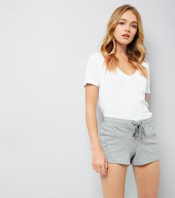 Grey Lace Up Front Shorts