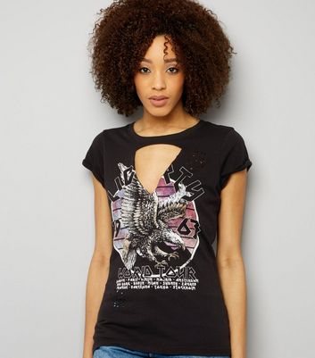 Tall Black Choker Neck Eagle Print Tour T-Shirt