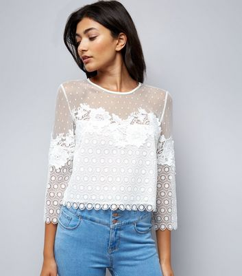 Tall White Spot Mesh Lace Detail Top