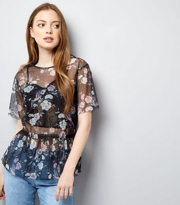 Tall Black Floral Print Mesh Peplum Hem Top