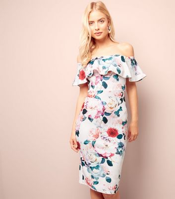 Tall Pink Floral Print Frill Trim Bodycon Dress