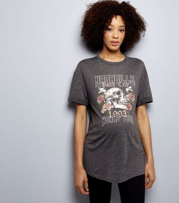 Maternity Dark Grey Rock City Print Oversized T-Shirt