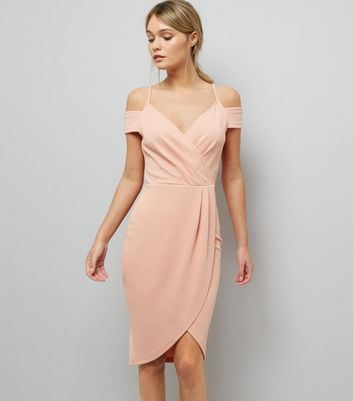 AX Paris Pink V Neck Wrap Front Midi Dress