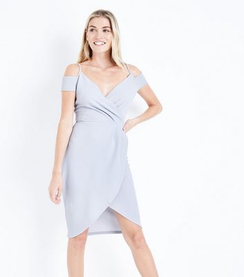 AX Paris Silver Cold Shoulder Midi Dress