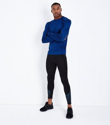Black Contrast Stripe Running Tights