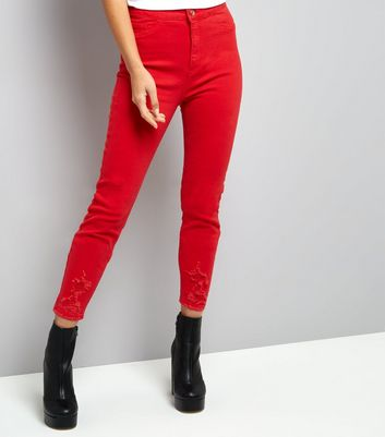 Red High Waisted Ripped Skinny Hallie Jeans