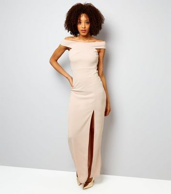 AX Paris Shell Pink Bardot Neck Slip Side Maxi Dress