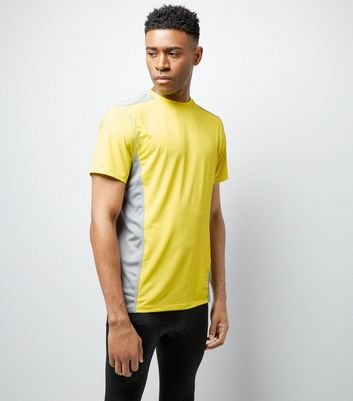 Yellow Panelled Short Sleeve Sports T-Shirt