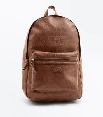 Brown Leather-Look Backpack