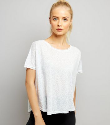 White Keyhole Back Sports T-Shirt
