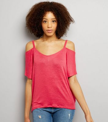 Bright Pink 1/2 Sleeve Cold Shoulder Top