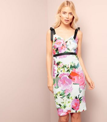 White Floral Print Ribbon Strap Bodycon Dress