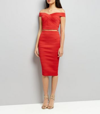 Red Bandage Pencil Skirt
