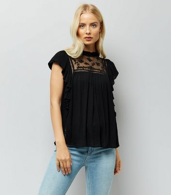 Black Lace Frill Trim Funnel Neck Blouse