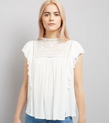 White Lace Frill Trim Top