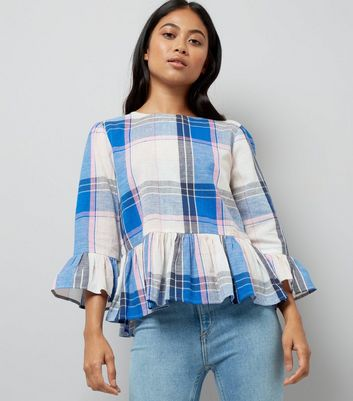 Petite White Check Frill Hem Top