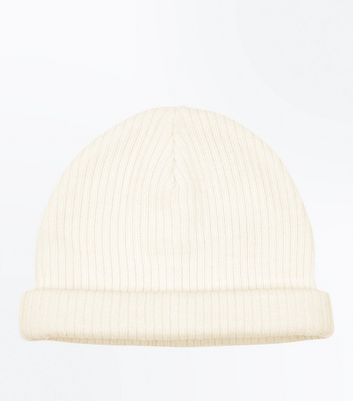Cream Ribbed Beanie