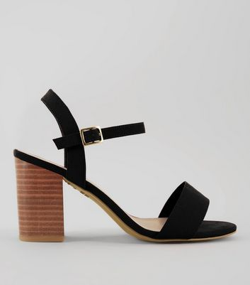 Wide Fit Black Wooden Block Sandals