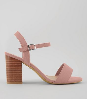 Wide Fit Pink Wooden Block Heels