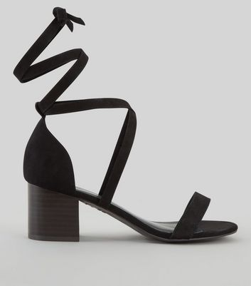 Wide Fit Black Suedette Ankle Tie Heeled Sandals