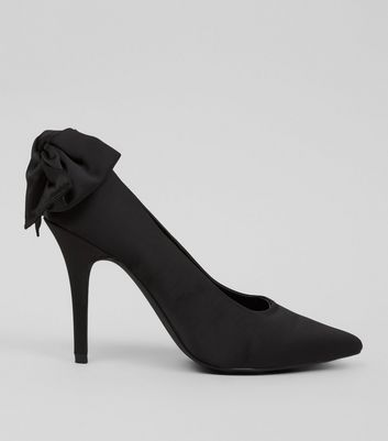 Black Satin Bow Back Court Heels