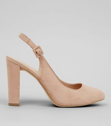 Wide Fit Nude Sling Back Pointed Heels