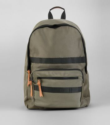 Khaki Conrast Trim Backpack