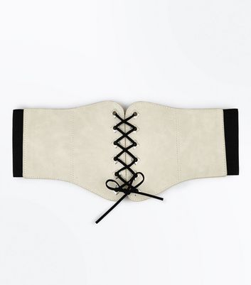 Stone Eyelet Trim Lace Up Corset Belt