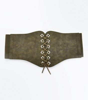 Khaki Eyelet Trim Lace Up Corset Belt