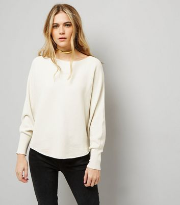 Apricot Stone Batwing Sleeve Fine Ribbed Jumper