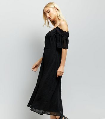 Black Cold Shoulder Midi Dress