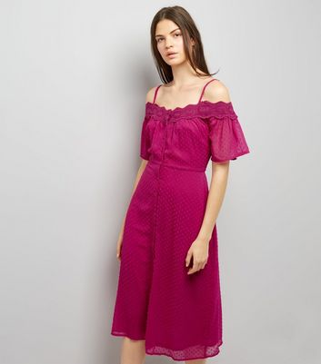 Deep Pink Cold Shoulder Midi Dress