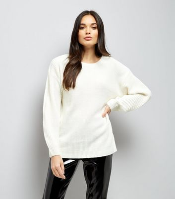 Cream Lattice Back Ribbed Jumper