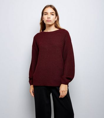 Burgundy Lattice Back Ribbed Jumper