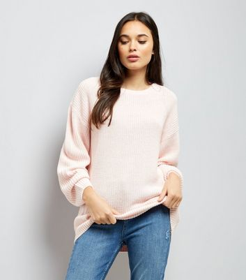 Shell Pink Lattice Back Ribbed Jumper