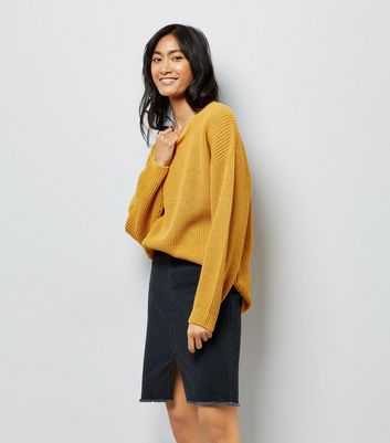 Yellow Lattice Back Ribbed Jumper