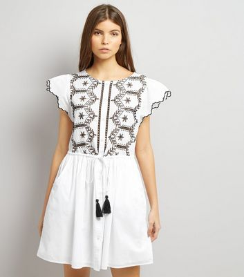 White Cut Out Short Sleeve Skater Dress
