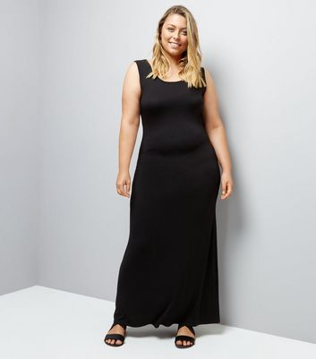 Curves Black Jersey Maxi Dress