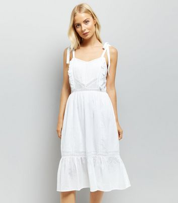 White Tie Strap Crochet Trim Sundress