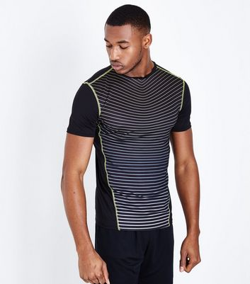 Black Stripe Panel Sports T-Shirt