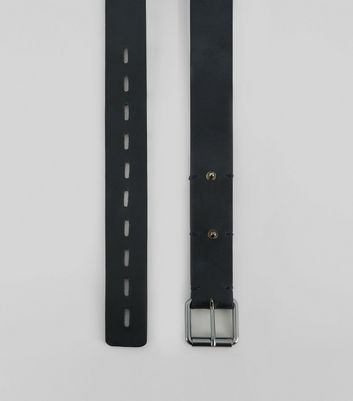 Black Leather Stud Stitch Detail Belt