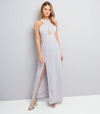 AX Paris Silver Cross Strap Front Maxi Dress