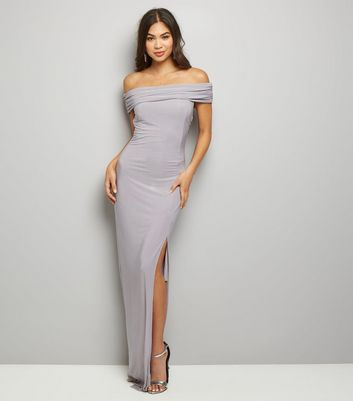 AX Paris Pale Grey Bardot Neck Side Split Maxi Dress