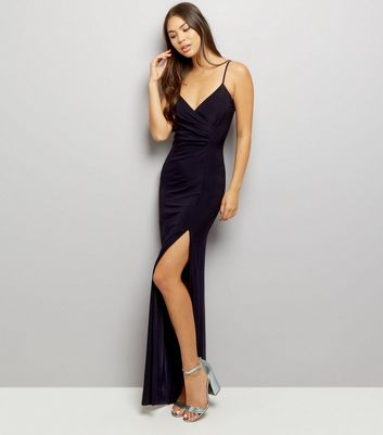 AX Paris Navy V Neck Split Front Maxi Dress